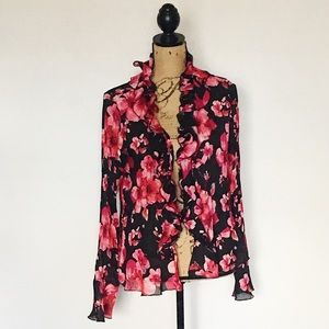 Sunny Leigh Black and Pink Floral Ruffles Cardigan